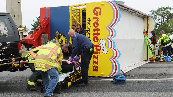 Rehoboth Beach Fire and EMS responded to an accident involving a tipped Jolley Trolley on Saturday, Oct. 1.
