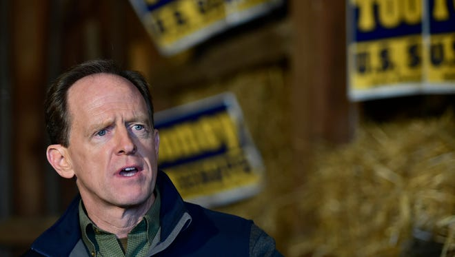 Senator Pat Toomey speaks to a crowd during a campaign stop on Thursday, October, 27, 2016 at the  Jim Marshall Farm, Chambersburg. Incumbent Toomey is running for re-election against Katie McGinty.
