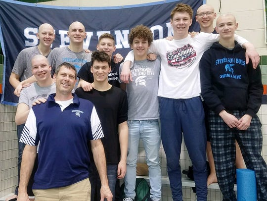 The Stevenson Division 1 swim finals contingent, coached