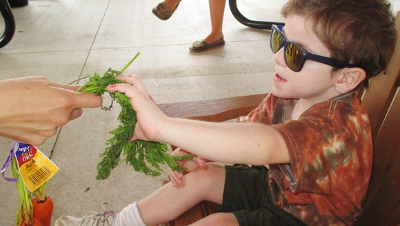 Chase Michelsen pets the top of a carrot during an
