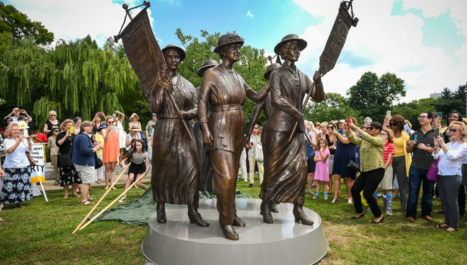 The Tennessee Woman Suffrage Monument was unveiled at Centennial Park on Friday.