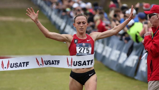 Sioux City native Shelby Houlihan, winning Saturday's USATF Cross Country women's senior nationals.