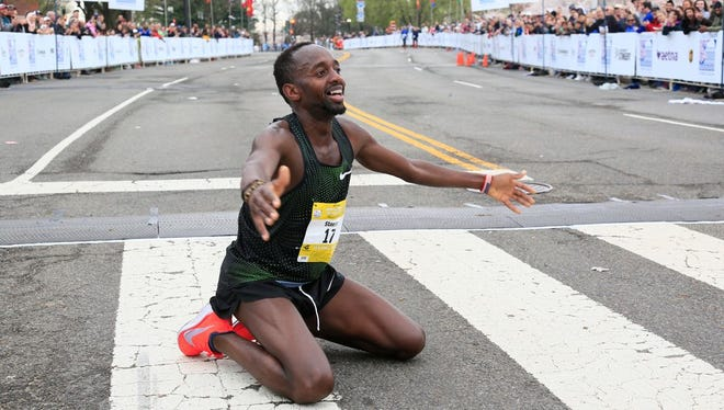 Stanley Kebenei, after breaking the American record for 10 miles Sunday.