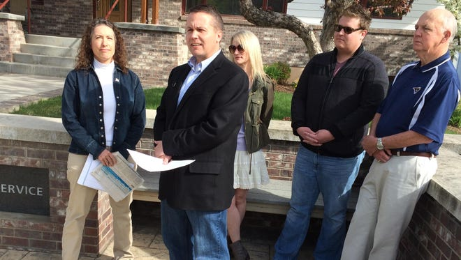 Educators and MEA-MFT staff on Friday held a news conference in Helena to discuss GOP gubernatorial candidate Greg Gianforte's proposal to cut the business equipment tax. From left, Beth Murphy, Jeff Cowee, Mary Riitano, Jake West and J.C. Weingarten.