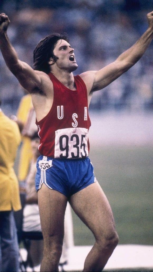 Bruce Jenner (now Caitlyn) celebrating his  decathlon