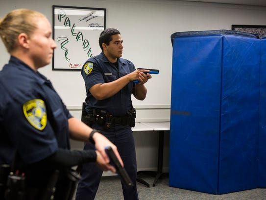 Police cadets participate in a de-escalation exercise