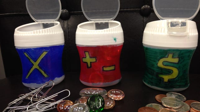 #MakeItMonday: 3 Math Manipulative Kits for on the Move -- Multiplier; Add, Subtract and Make 10s; Money -- are shown.