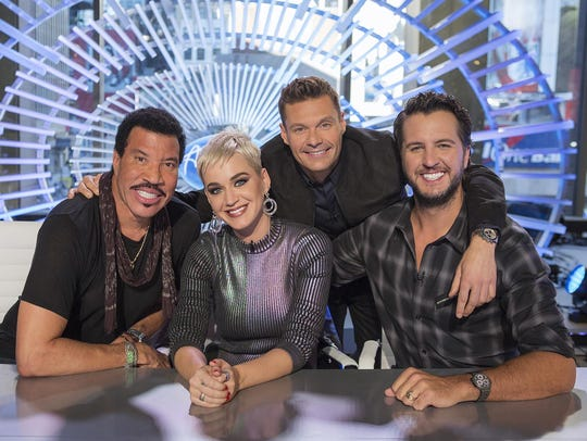 Lionel Richie, left, Katy Perry, Ryan Seacrest and