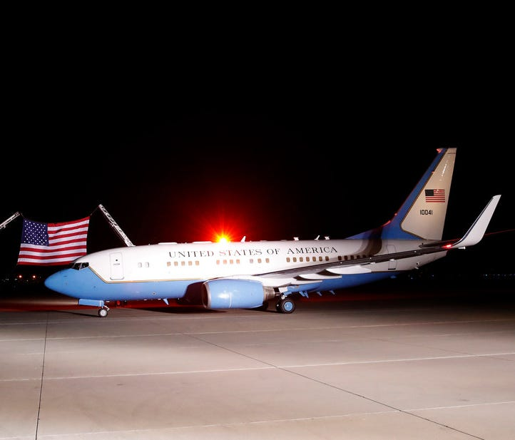 The plane carrying North Korean detainees arrives on May 10, at Andrews Air Force Base, Md.