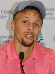 Steph Curry speaks to the media last year at Edgewood