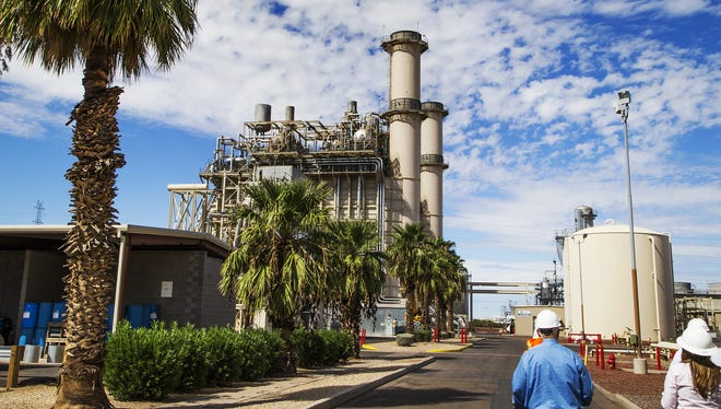 This is a ground-level view of the Arizona Public Service West Phoenix Power Plant on Sept. 29, 2016.