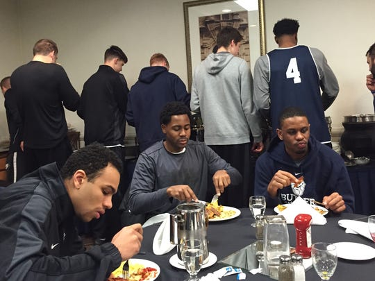 Butler players gather for breakfast before Wednesday's shootaround.