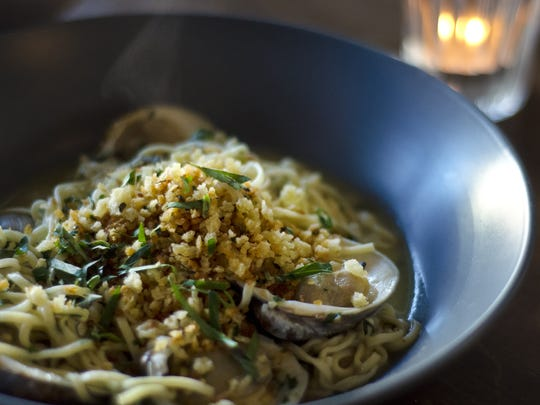 Linguine with little neck clams and bread crumbs at