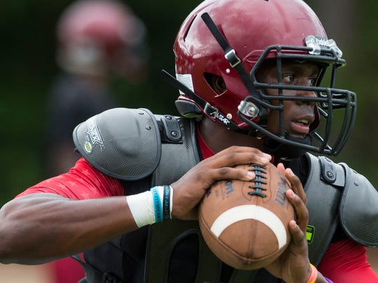 Prattville's Cam Taylor during football practice at