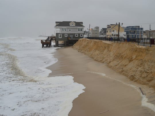 Beach erosion along the oceanfront in the morning hours.Ortley Beach (Toms River), NJTuesday, January 24, 2017.Photo courtesy Melody Sabawa