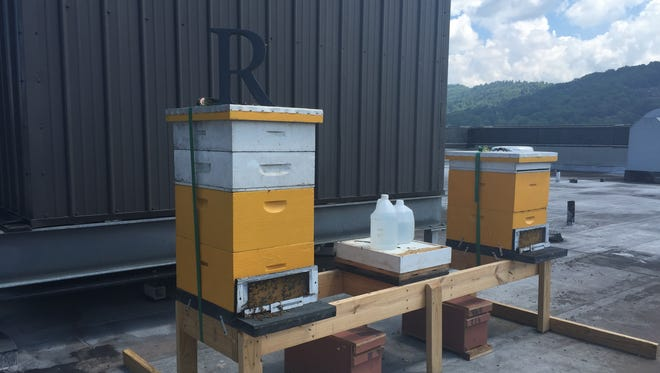 The Renaissance Asheville Hotel now has these two beehives on its roof. The hives are home to more than 70,000 honeybees.
