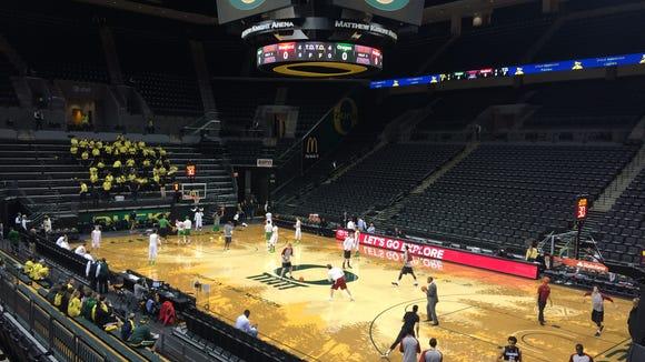 Oregon hosts Stanford tonight at Matthew Knight Arena.