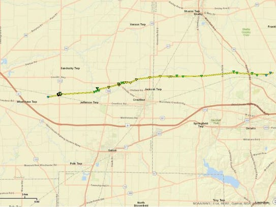 The path of the tornado in Crawford and Richland counties