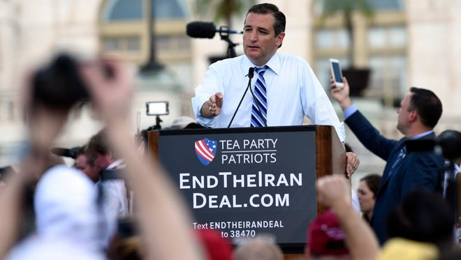 Republican presidential candidate Ted Cruz addresses a rally on Capitol Hill on Sept. 9, 2015.