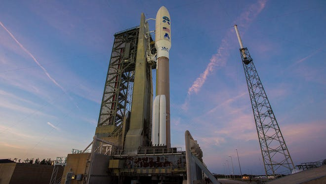 United Launch Alliance Atlas V rocket carrying NOAA's GOES-S satellite waits for liftoff on Thursday, March 1, 2018, from Space Launch Complex 41 at Cape Canaveral Air Force Station in Florida.