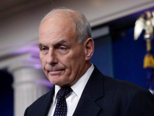 White House Chief of Staff John Kelly responds to a