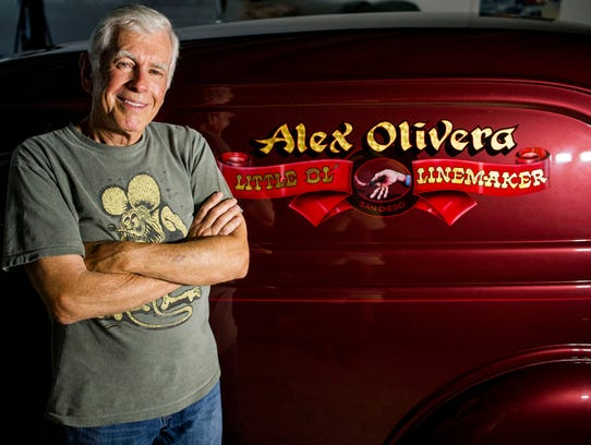 Alex Olivera with his 1937 Ford sedan delivery at a