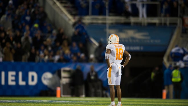Tennessee defensive back Nigel Warrior (18) looks towards the sidelines during the Tennessee vs. Kentucky game at Kroger Field in Lexington, Kentucky Saturday, Oct. 28, 2017.
