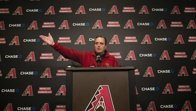 Diamondbacks' president Derrick Hall speaks with the press on the first full squad day of spring training at Salt River Fields at Talking Stick on Tuesday, February 23, 2016.