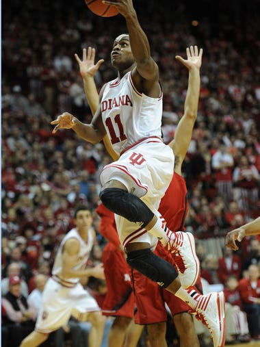 Indiana's Yogi Ferrell drives to the basket early in the second half as Nebraska defeated Indiana 70-60 at Assembly Hall in Bloomington Wednesday March 5, 2014.