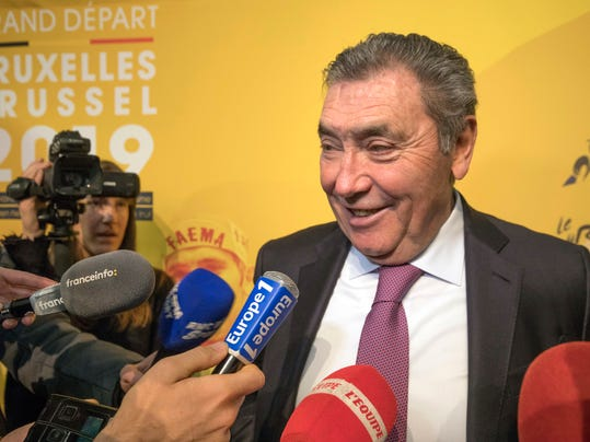 Former cyclist Eddy Merckx speaks during a presentation of the 2019 Tour de France cycling race in Brussels on Tuesday, Jan. 16, 2018. The start of the 2019 Tour de France will be all about honoring Merckx in his hometown Brussels. Merckx _ known as The Cannibal for his ferocious taste for victory _ won his first of five Tours in 1969 and half a century later still sees it as one of the major accomplishments of a cyclists generally seen as the greatest ever.  (AP Photo/Olivier Matthys)