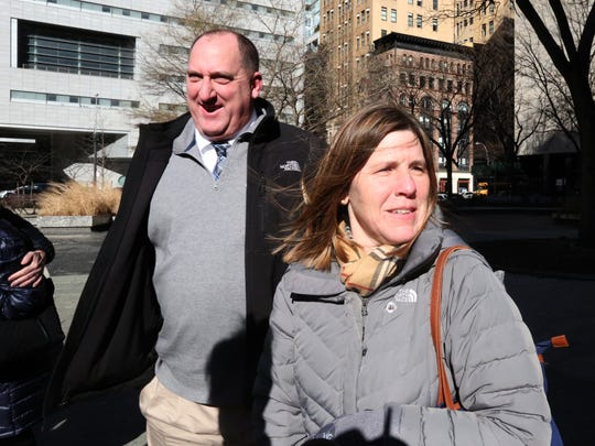 Tom Moran and his wife, Norma, leave Manhattan Supreme Court after charges against him were dismissed Feb. 5, 2018. Moran is a Metro-North conductor who was accused of assaulting MTA cops in August.