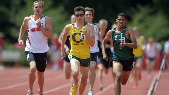 In 2012, Austin Mudd of Wisconsin, left, won the 1,500m in 3:46.50 in the 2012 USA Junior Championships at the University of Indiana. Y