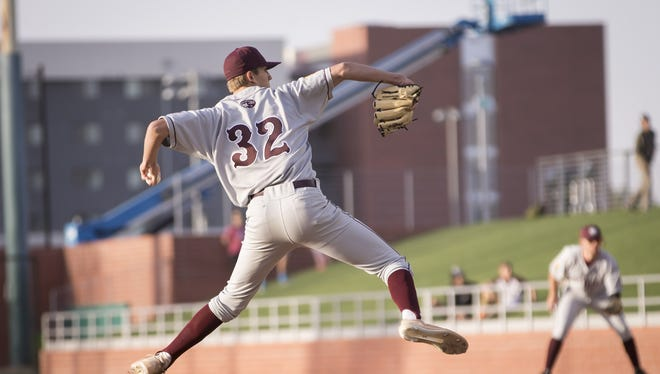 Pitcher Matthew Liberatore (32) of the Mountain Ridge Mountain Lions pitches against the Sandra Day O'Connor Eagles at Brazell Field at Grand Canyon University on Thursday, April 19, 2018 in Phoenix, Arizona.