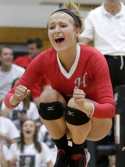 Hortonville's Steph Jarvis reacts to a point against