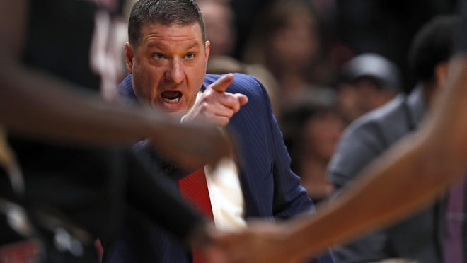 Texas Tech coach Chris Beard yells out to his players during the first half of an NCAA college basketball game against Kentucky on Jan. 25, 2020 at United Supermarkets Arena.