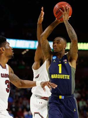 GREENVILLE, SC - MARCH 17: Duane Wilson #1 of the Marquette Golden Eagles looks to shoot against  the South Carolina Gamecocks in the first half during the first round of the 2017 NCAA Men's Basketball Tournament at Bon Secours Wellness Arena on March 17, 2017 in Greenville, South Carolina.  (Photo by Gregory Shamus/Getty Images)
