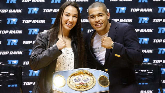 """Top Rank Boxing, will once again invade the Don Haskins Center in El Paso, Texas on February 17, with their """"Dynamic Duo,"""" boxing card. The card will feature IBF World Featherweight Champion Jennifer Han (l) of El Paso against challenger and former World Champion, Olivia Gerula of Winnepeg, Canada. On the same card #3 world ranked Jose Felix (r) of Los Mochis, Mexico will be fighting Peru's Jonathan Maicelo, in a 10-round lightweight bout."""