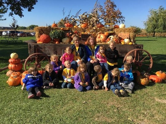 The St. Mary Elementary School preschool class has been learning about the farm. Along with several activities, they took a field trip to Mulberry Lane Farm in Sherwood. Pictured are (first row, from left) Paige Steinberg, Raegan Spencer, Zac Lemke, Delaney Moore, Bentley Davis, Carl Werner, Declan Pyka; (second row) Finley Full, Elliana Hernke, Mrs. Griffith, Mrs. Zimmerman, Olivia Tobey, Brielle Junion and Johnathan Olson.