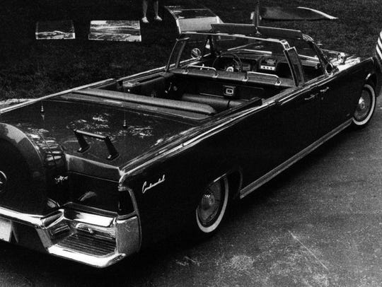 "Hess & Eisenhardt transformed Ford Motor Co.'s four-door convertible into a parade car for President John F. Kennedy. ""The day the President go killed I was sitting at my desk,"" said trim foreman Bob Deiters, ""I sat there and cried - after all the time and car put into that car so nothing could happen."""