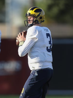 Michigan Wolverines quarterback Wilton Speight passes during practice for the upcoming Orange Bowl against Florida State on Tuesday, December 27, 2016 at Barry University in Miami Shores, Fla.
