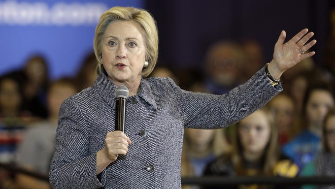 Democratic presidential candidate Hillary Clinton speaks during a town hall meeting at Keota High School in Keota, Iowa, Dec. 22.