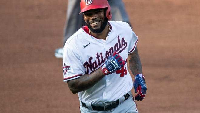 Nationals designated hitter Howie Kendrick jogs back to the dugout during a July intrasquad game. Kendrick is retiring after 15 major league seasons that included earning NLCS MVP honors during the Nationals' 2019 World Series run.