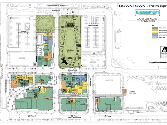 The site map for the redevelopment of downtown Palm Springs, showing approved and proposed buildings and other elements.