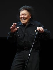 Comedian/actor Marty Allen performs during a show celebrating