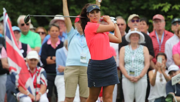 USA's Sophia Schubert tee's off on the first hole during singles matches at the 40th Curtis Cup at Quaker Ridge Golf Club in Scarsdale on Sunday, June 10, 2018.