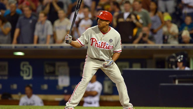 Phillies center fielder Ben Revere (2) at bat during the ninth inning Sept. 15 against the San Diego Padres at Petco Park. Credit: Jake Roth-USA TODAY Sports