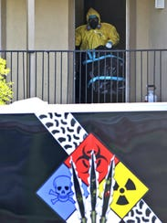 One of the members of a hazardous-materials cleanup