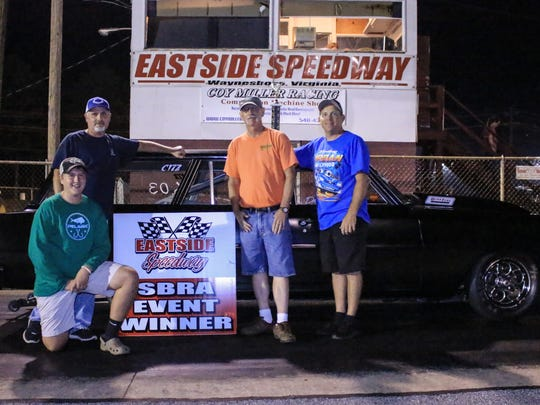Danny Cash, second from right, was the Super Pro winner Friday night at the Eastside Speedway drag strip.