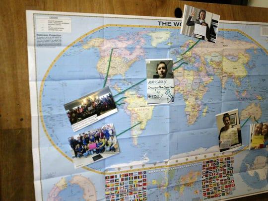 A map shows where some of Adam Brey's international