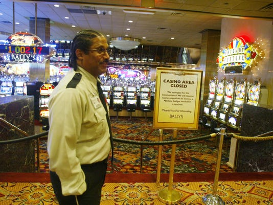 Casinos closed in Atlantic City due to the state budget impasse in Trenton. The closed casino area at Ballys where only aisles were open for people to walk thru on their way to other parts of the hotel complex but all gambling was taped off.